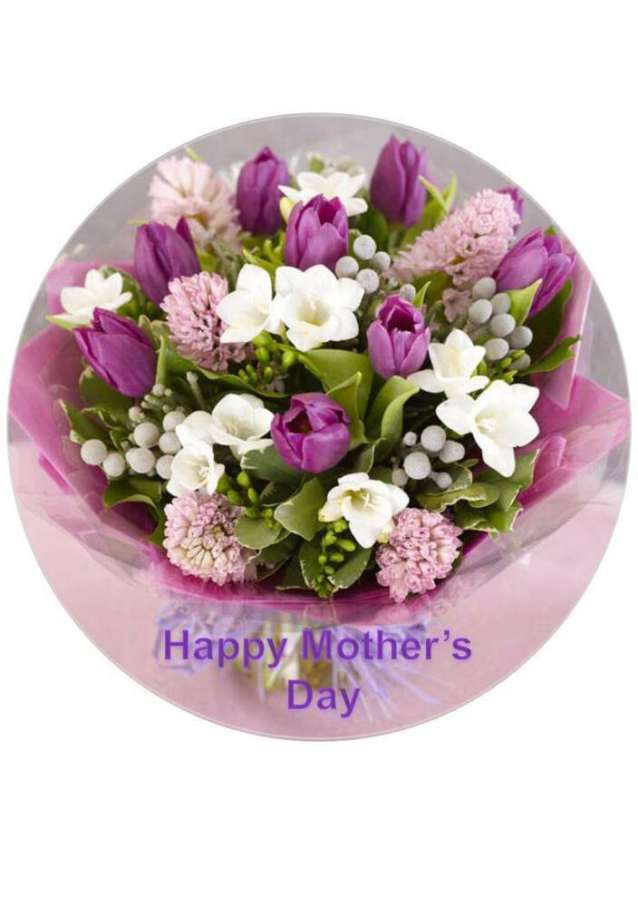 75 Inch Round Mothers Day Purple Bouquetflowers Icingrice Paper