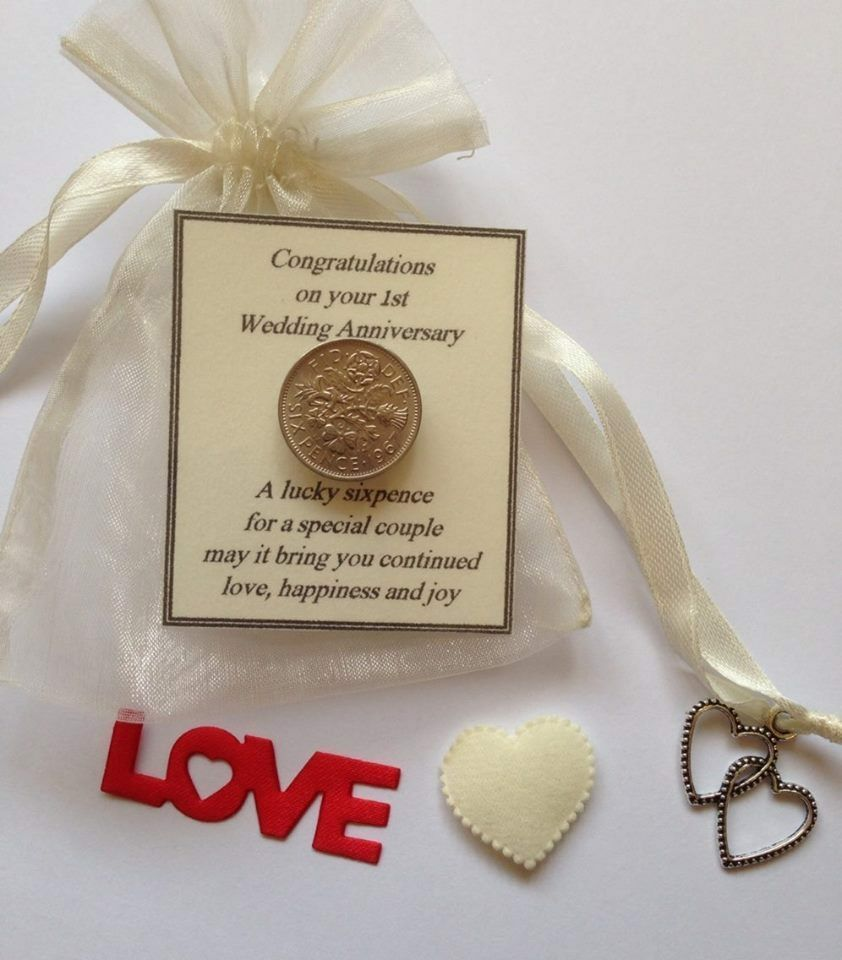 First Wedding Anniversary Gifts For Her: First Wedding Anniversary Lucky Sixpence Gift- Ivory Bag