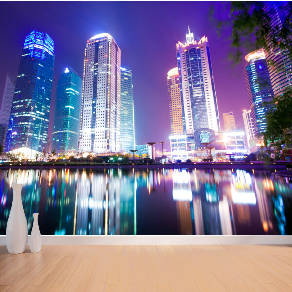 City view from water at night scene style 2 wallpaper for City view wallpaper mural