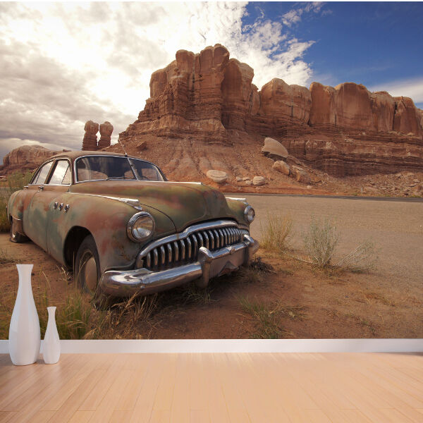 Classic car in the desert nature wallpaper mural design for Desert mural wallpaper