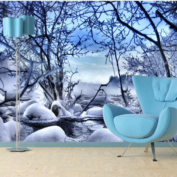 Winter scene frozen trees and snow wallpaper mural design for Winter wall murals
