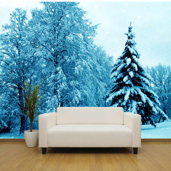 Winter scene snow covered trees wallpaper mural design for Winter wall murals