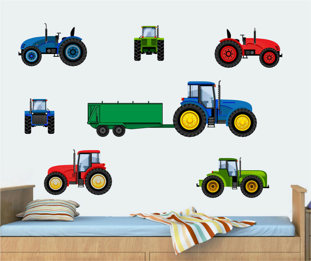 Tractor Blue Red Amp Green 10 Pack Wall Art Vinyl Stickers