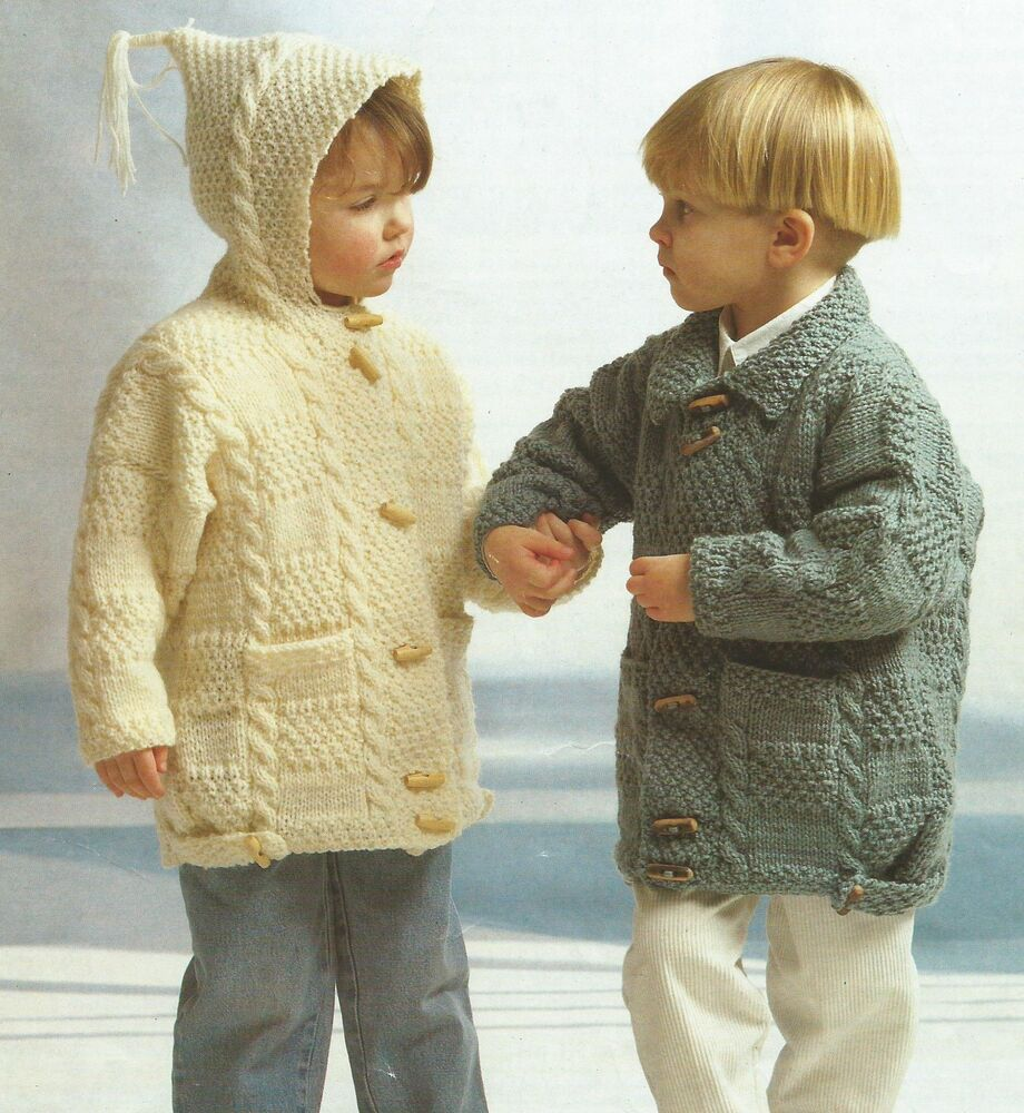 Free Knitting Patterns For Childrens Aran Sweaters : Childs Girls Boys Knitting Pattern Duffle Coat Aran 20-30