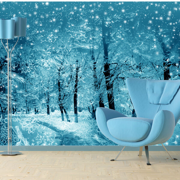 Snowy winter scene wallpaper mural design wm113 ebay for Winter wall murals