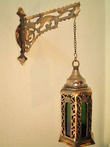 Wall Mount Hanging Lamp : BR72 Egyptian Wall Mount Cast Brass Hanging Lamp Candle Holder W/Deco Bracket eBay