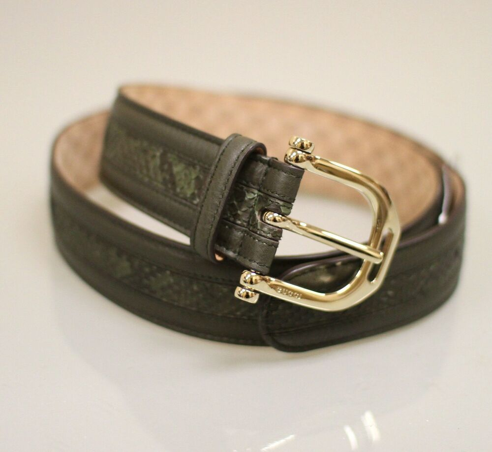NEW Authentic GUCCI Python Leather BELT 95/38 w/Metal ...