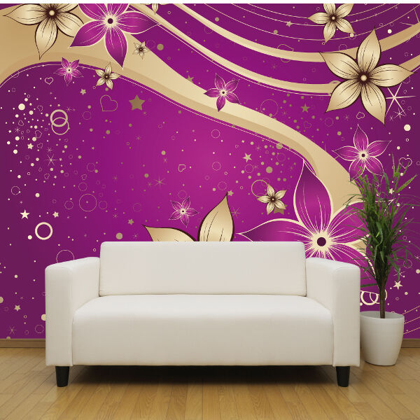 Purple and gold flowers wallpaper mural bedroom design