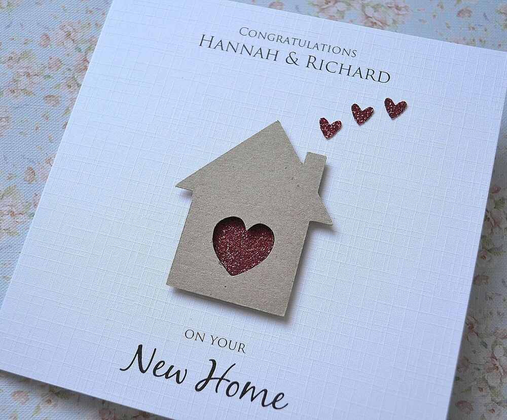 Personalised New Home house card Handmade House and Hearts ...