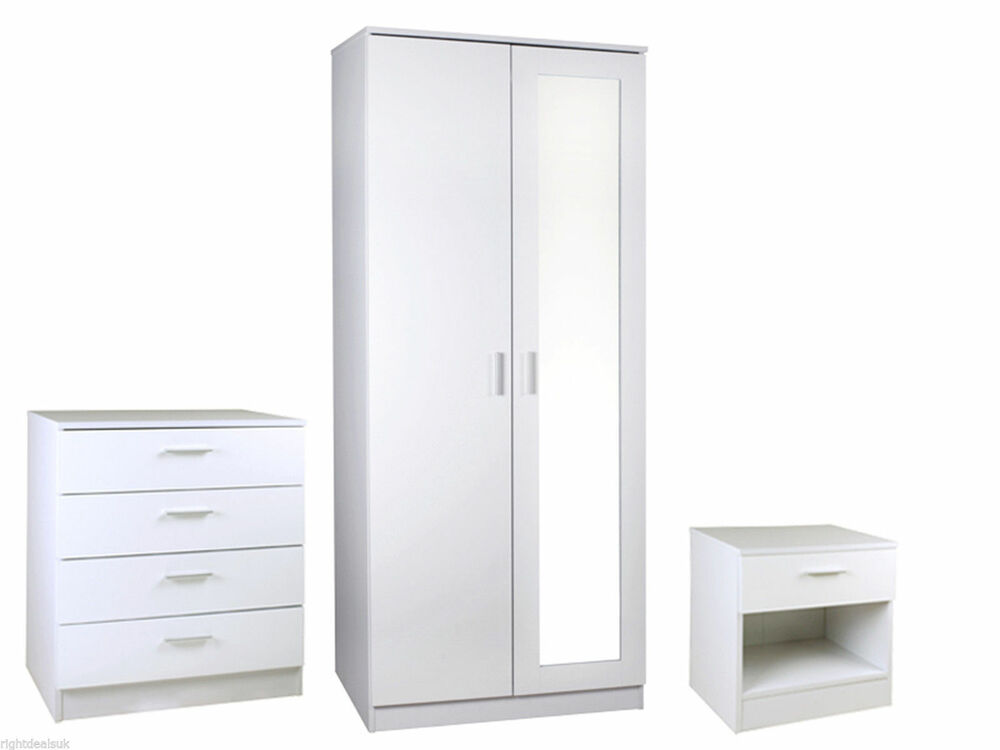 supreme mirrored white high gloss bedroom furniture 3 piece set ebay