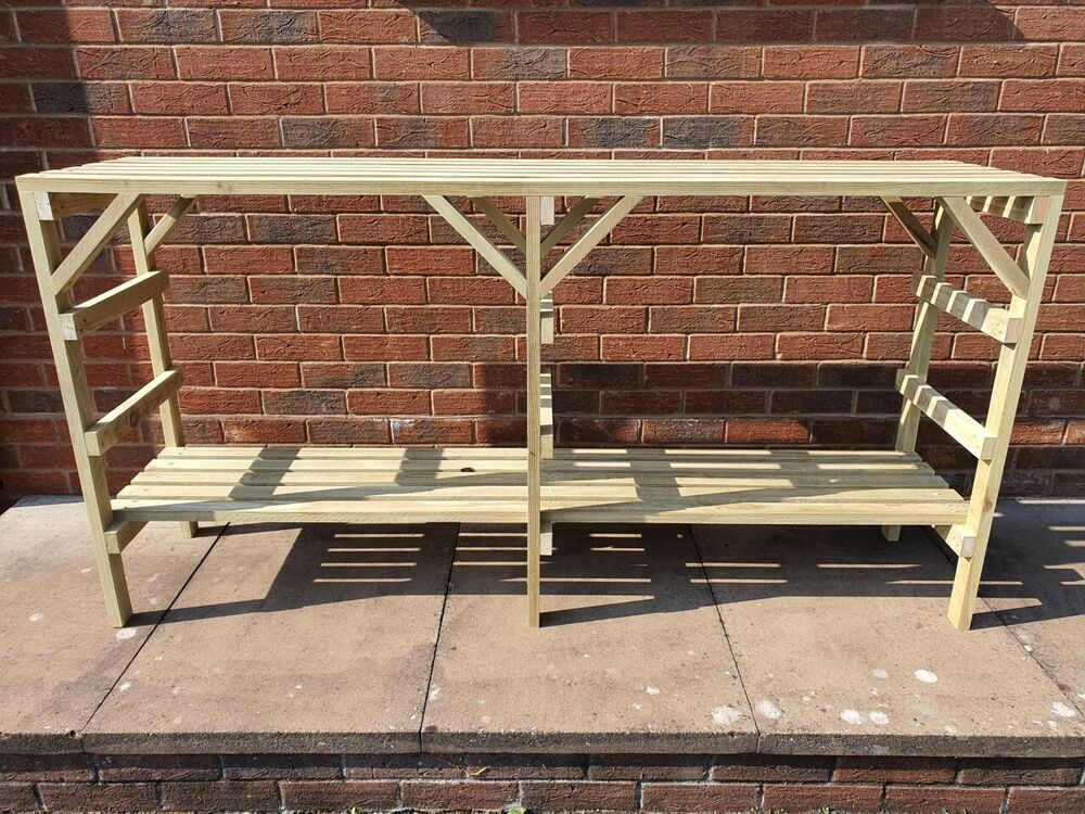 Wooden greenhouse staging very solid 6ft 2 tier ebay - Wooden staging for greenhouse ...