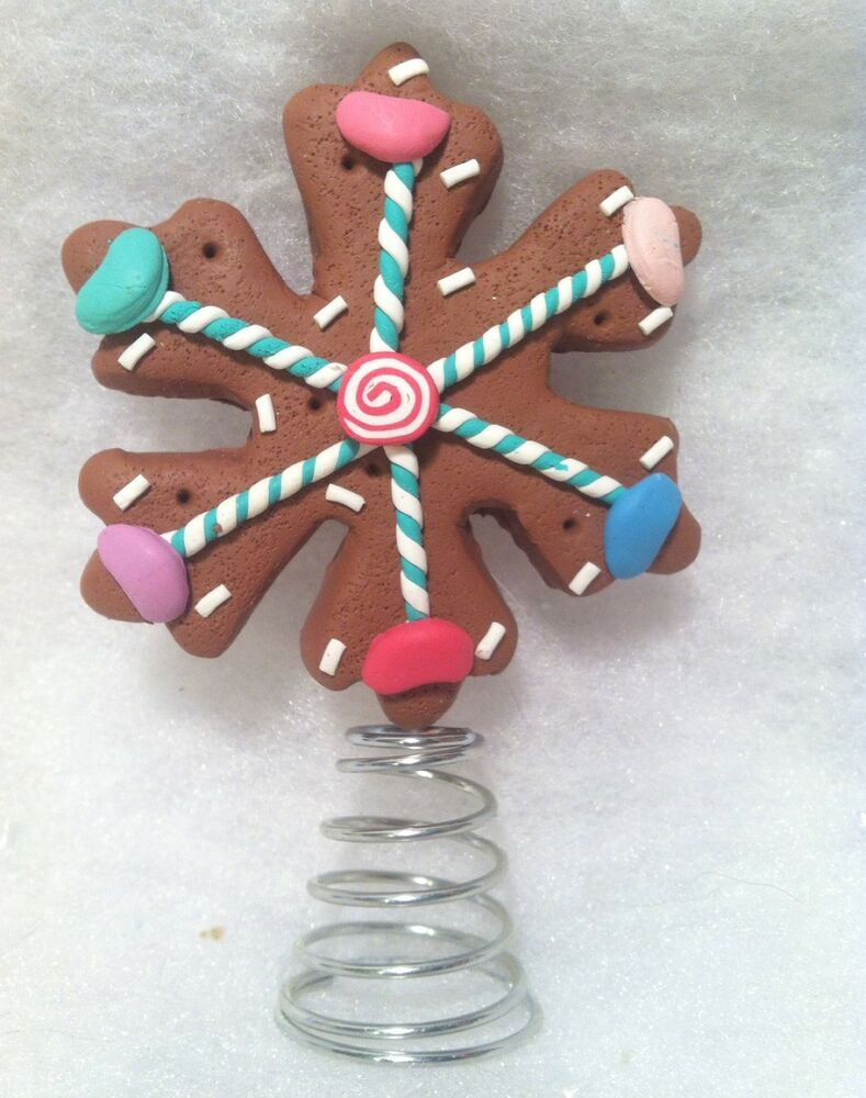 mini gingerbread snowflake cookie w candy christmas tree topper ebay. Black Bedroom Furniture Sets. Home Design Ideas