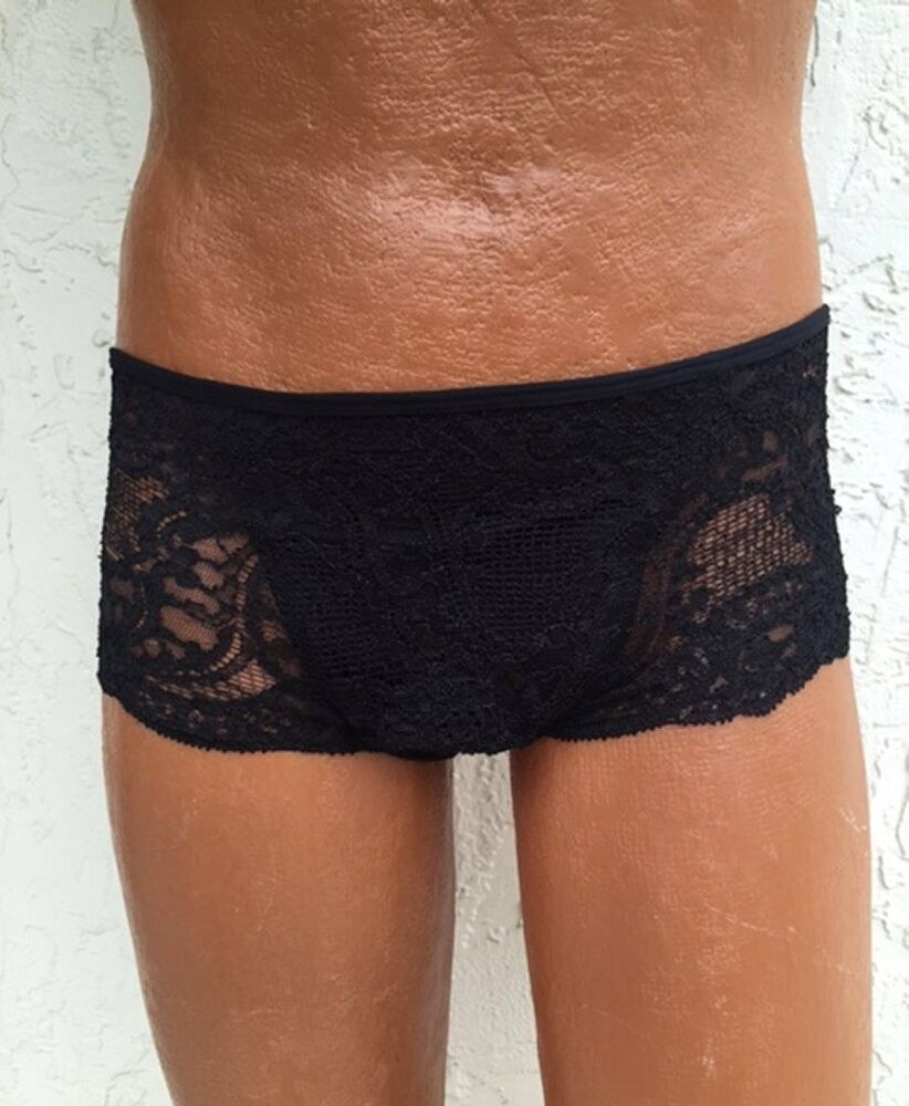 A gorgeously sheer pair of lingerie shorts, these delicate lacy bottoms boast a thigh skimming, boy-cut, booty teasing shape that flatters any figure. They're perfect for layering, and definitely drool-worthy on their own. % nylon.