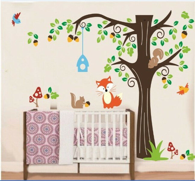 cartoon animal forest vinyl art wall stickers decals for nursery and kids room ebay. Black Bedroom Furniture Sets. Home Design Ideas