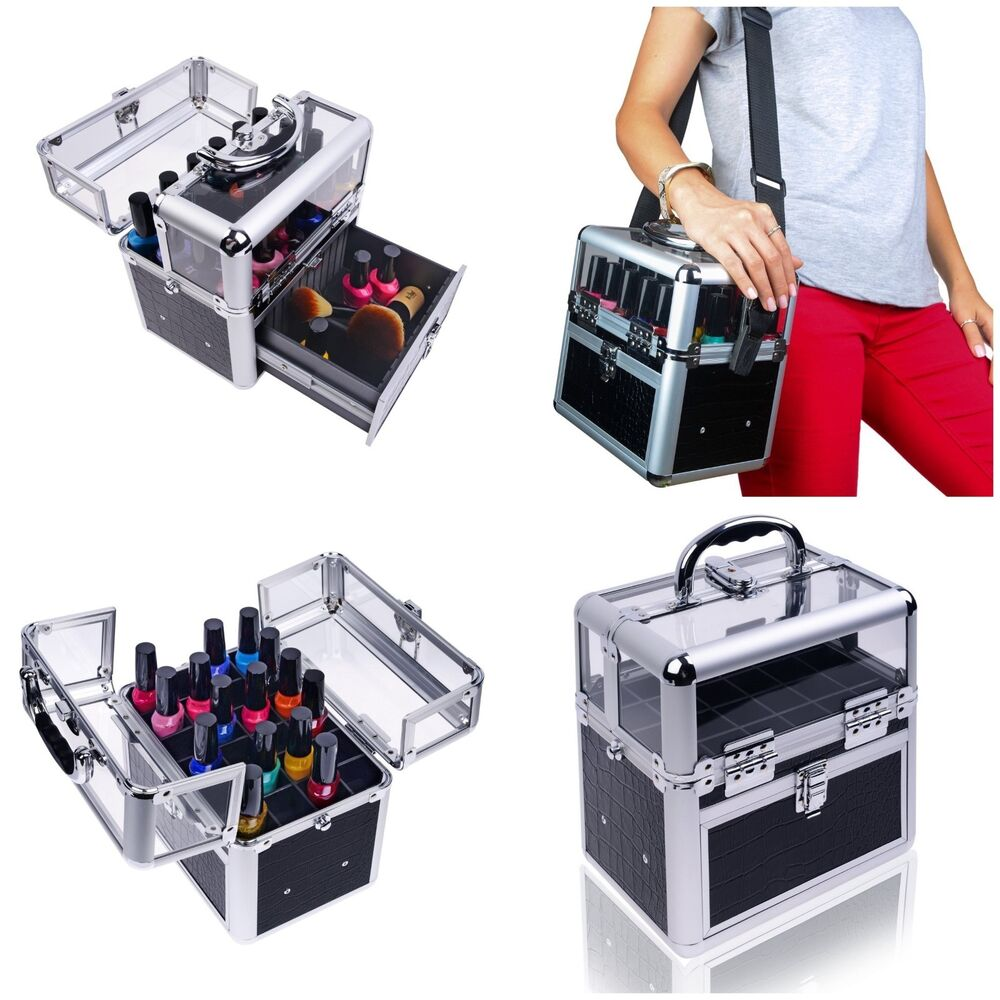 NEW Travel Cosmetic MakeUp Nail Polish Organizer Case