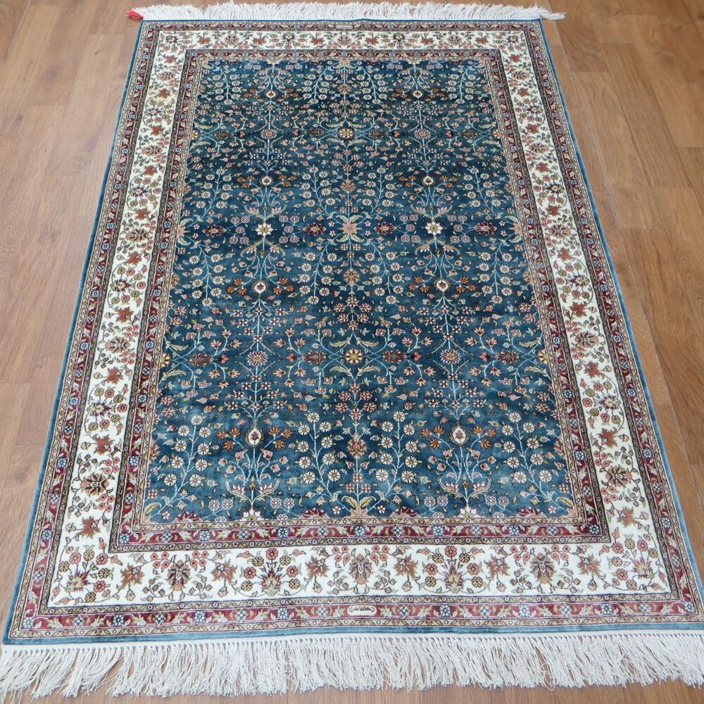 4x6 traditional bedroom hand knotted silk oriental persian for Throw rug on top of carpet