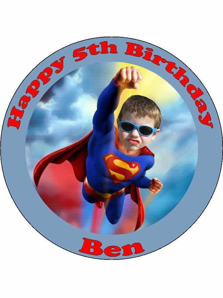 Personalised Superman own photo edible cake topper round ...