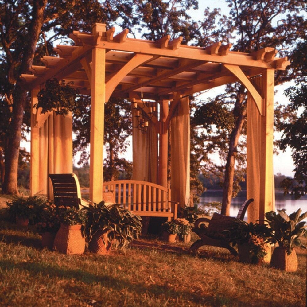 Pergola Plan - Media Woodworking Plans Outdoor Plans | eBay