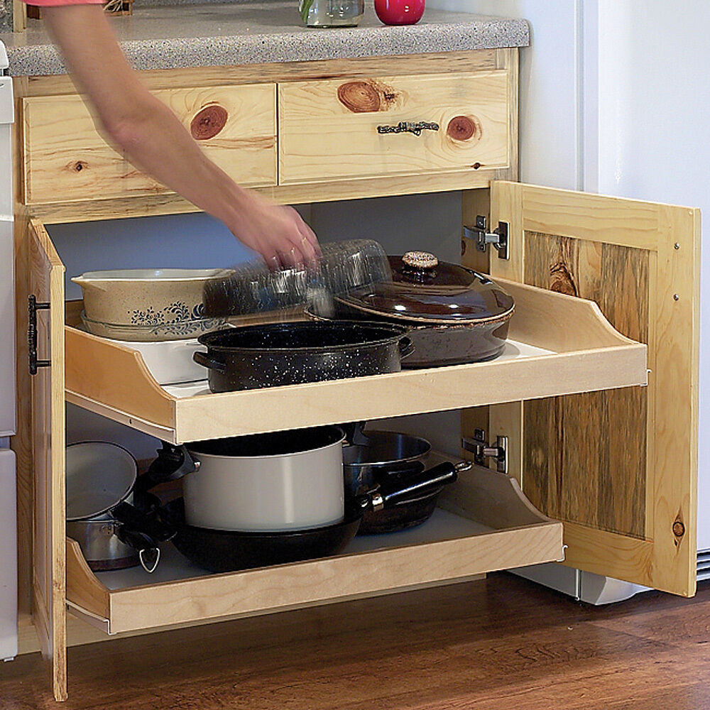 "Kitchen Cabinet Pull Out Organizer: 22"" Birch Pull-Out Shelf Kit (One Shelf), 1/4"" Bottom"