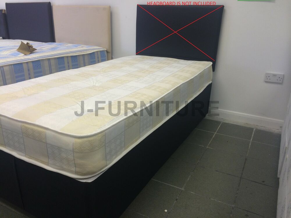 3ft standard single black base divan bed soft to medium for 3ft single divan bed with mattress