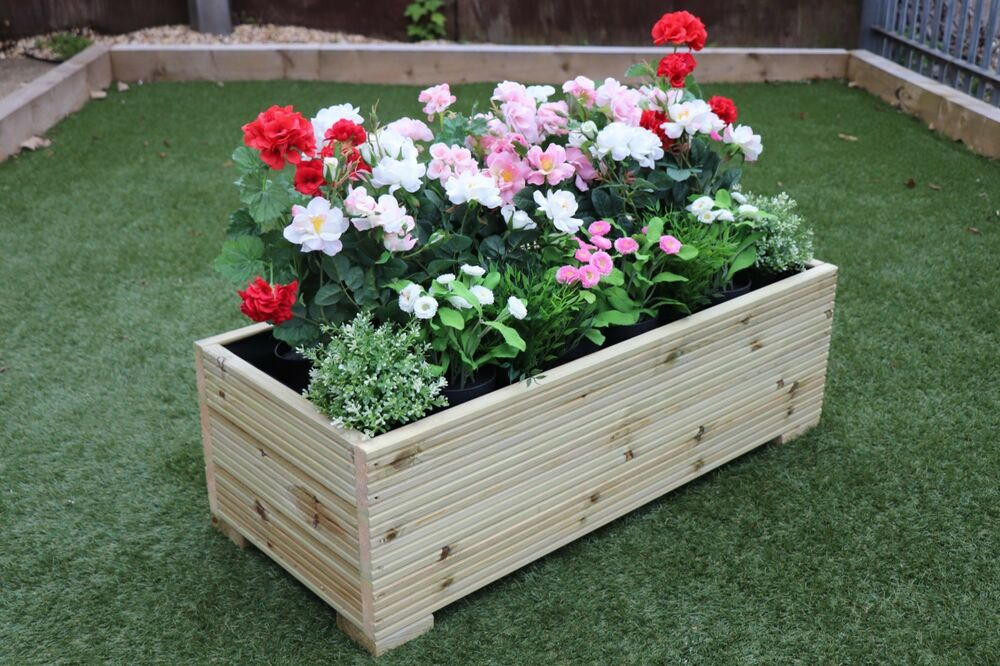 1 metre large extra wide wooden garden planter trough hand made in decking ebay. Black Bedroom Furniture Sets. Home Design Ideas