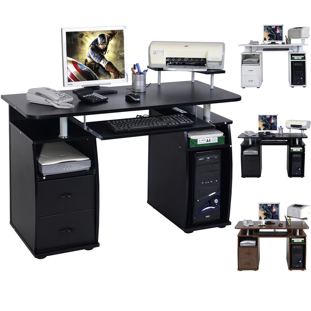 Computer desk mdf black home office pc table work station for Work desks home