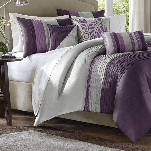Purple Grey Bed Bag Luxury 7 Pc Comforter Set Cal King