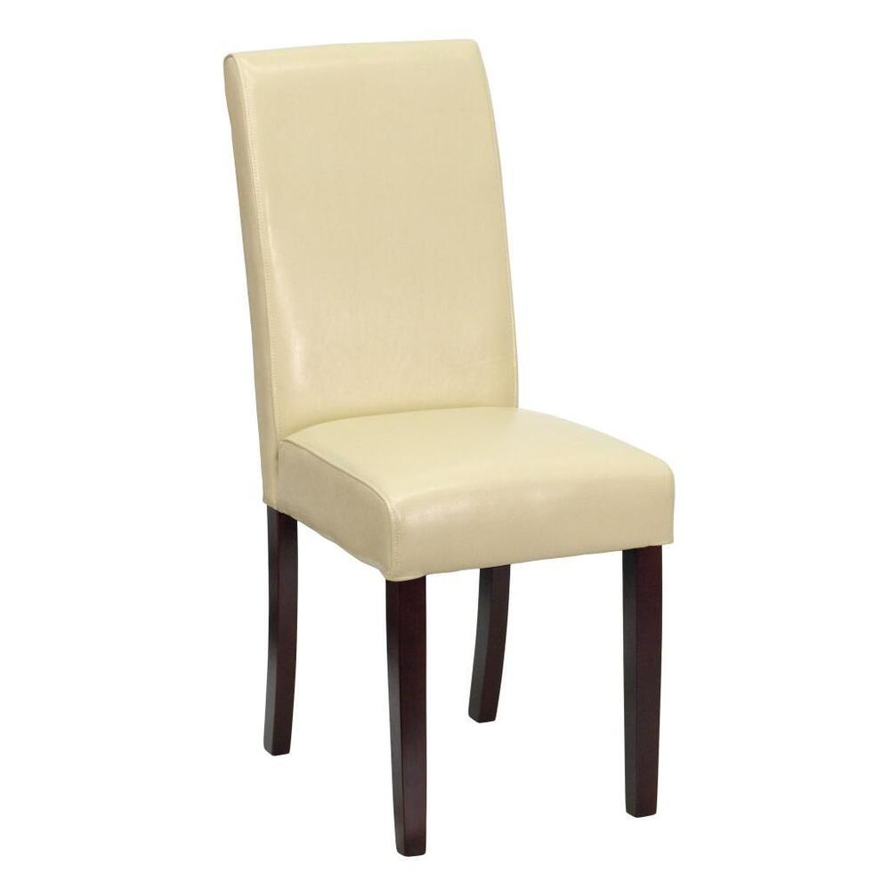 Ivory leather upholstered parsons dining side chair bt 350 for Leather parsons dining chair