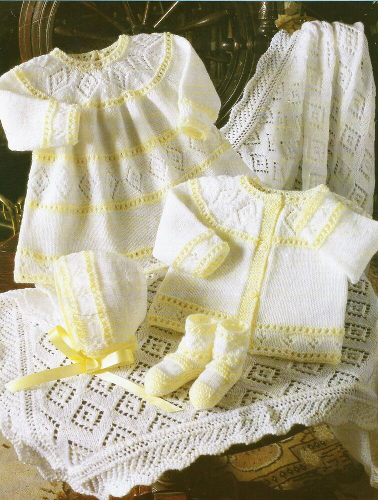 Baby Knitting Pattern Dress Cardigan Bonnet Bootees Shawl 4 ply 12-18