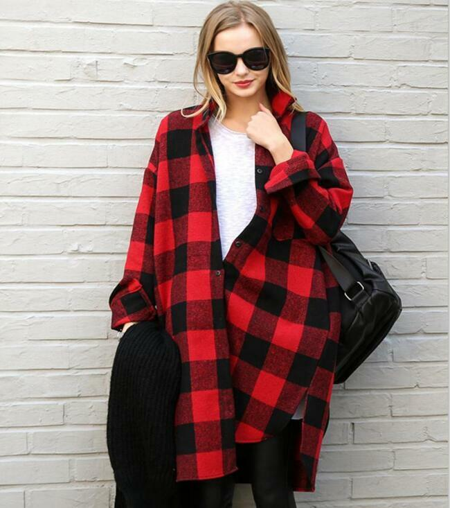 Long sleeve oversize lapel scottish plaid top black red for Buy plaid shirts online