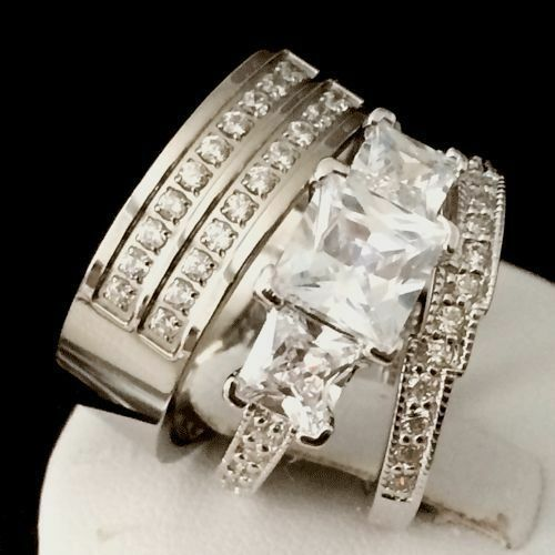 3PCS WOMEN MEN ENGAGEMENT WEDDING RING SET TITANIUM STERLING SILVER CZ