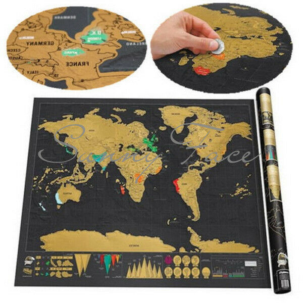 deluxe travel scratch off map personalized world map poster luckies personal log ebay. Black Bedroom Furniture Sets. Home Design Ideas