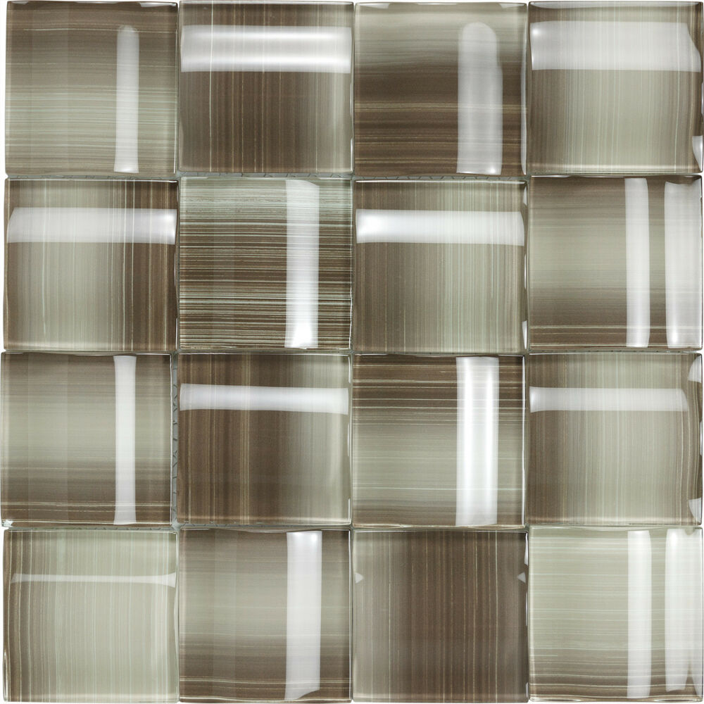 Kitchen Tiles Ebay: Taupe & Light Brown 3D Glass Kitchen Bath Wall Mosaic Backsplash Tiles- 10