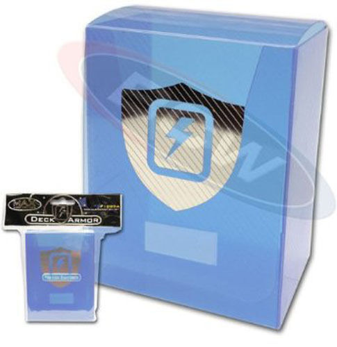 Blue Lightning Favor Boxes : Max protection transparent light blue deck box with