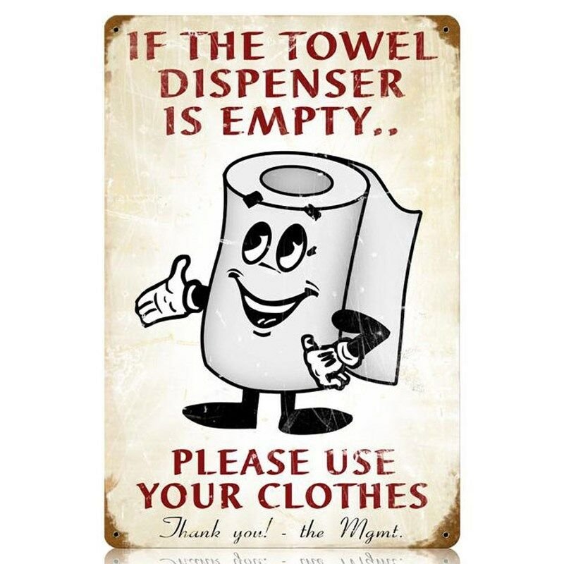 Towel Dispenser Retro Humor Funny Toilet Paper Roll Tin