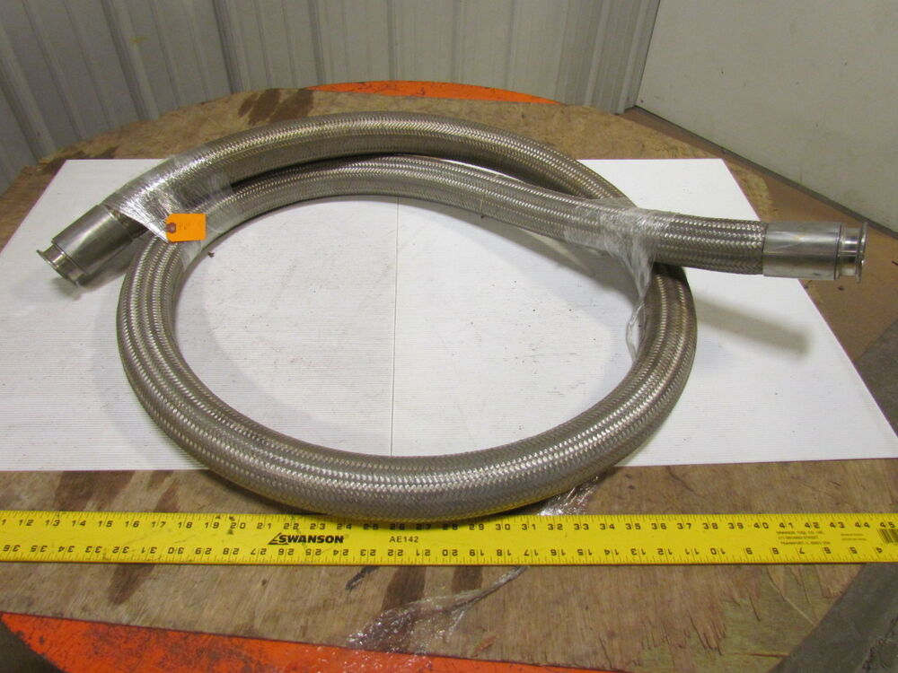 Quot sanitary stainless steel braided flexible hose fitting