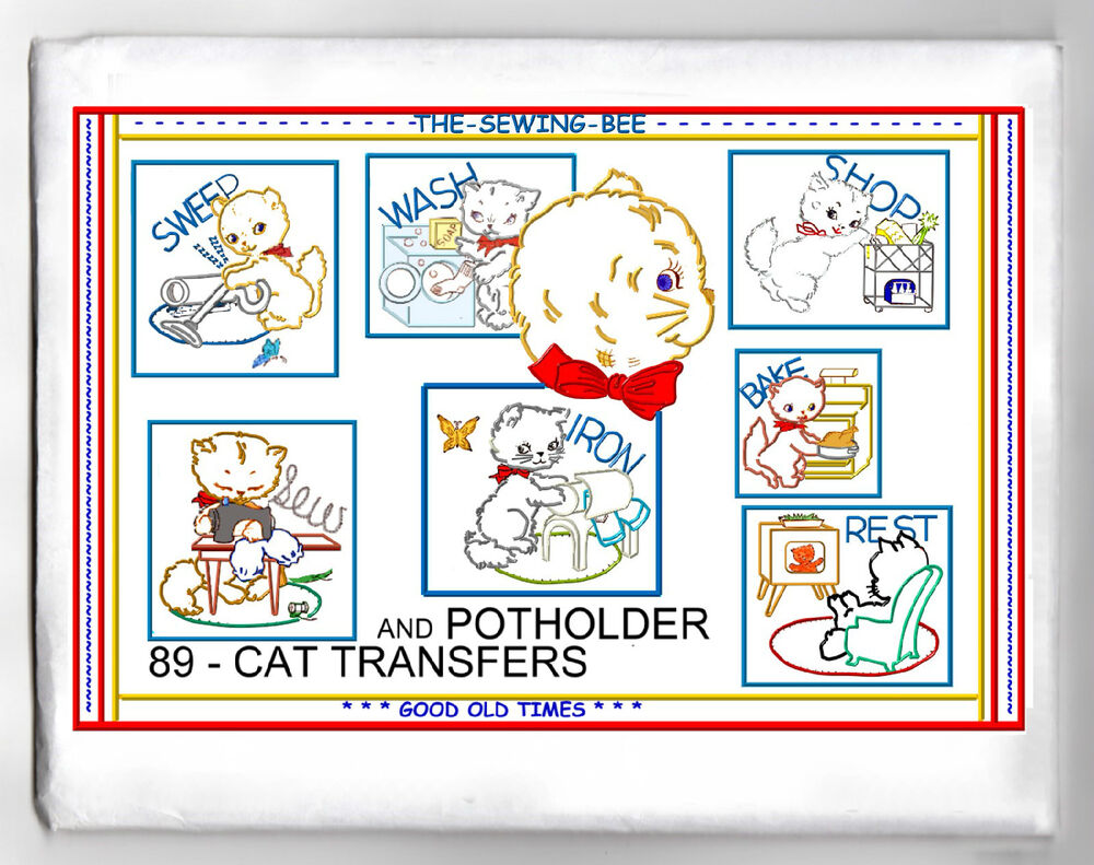 Kitty cats embroidery iron on transfer pattern ebay
