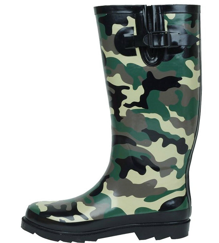 New Women 39 S Fashion Army Stylish Camo Rubber Rain Boots Ebay