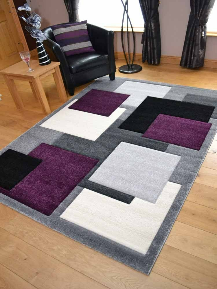 Modern Thick Soft Quality Lt Silver Grey Purple Floor Mat