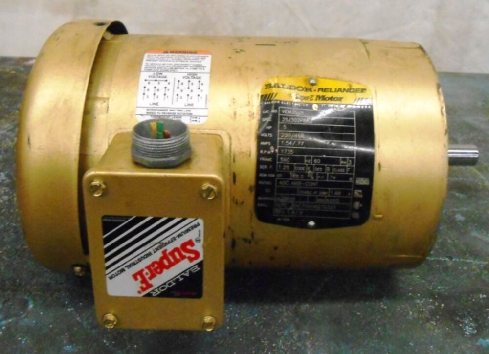 Baldor relaince ac motor vem3538 1 2 hp 1735 rpm 230 for 3 phase 3hp motor