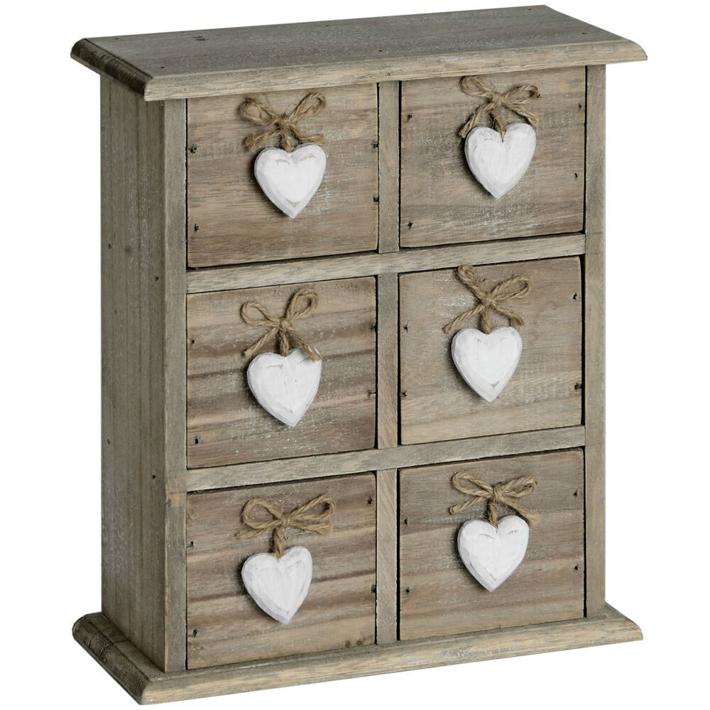 shabby wooden chic six drawer heart jewellery storage trinket box cupboard chest ebay. Black Bedroom Furniture Sets. Home Design Ideas