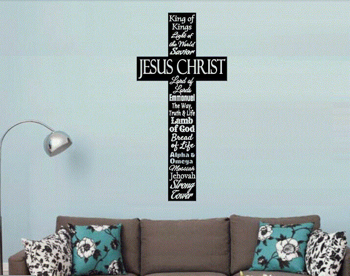 Cross Names Of Jesus Christian Decor Vinyl Wall Decal