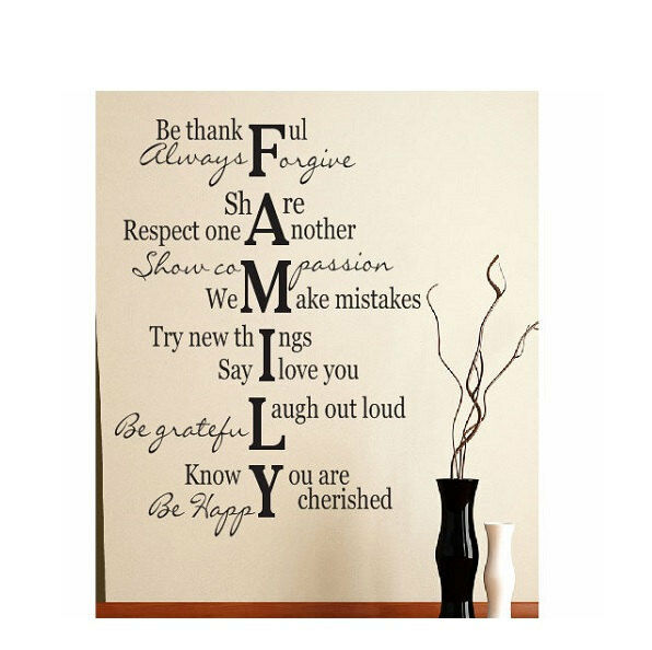 Family Verse Quote Vinyl Art Wall Decal Lettering Words