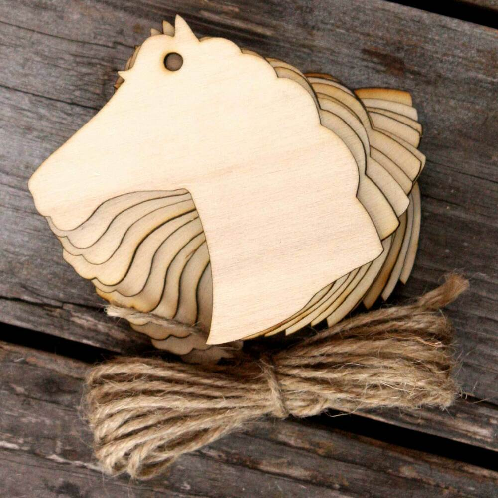 10x wooden horse head craft shapes 3mm plywood ebay for Wooden horseshoes for crafts