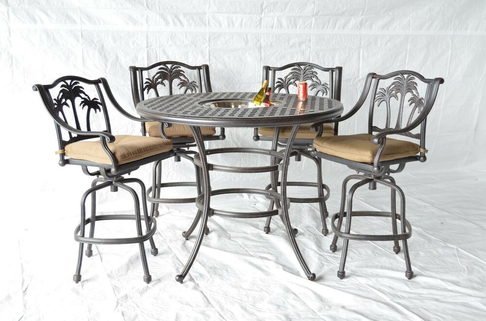 Palm tree outdoor patio 5pc set bar table 52 cast for Table 52 restaurant gaborone