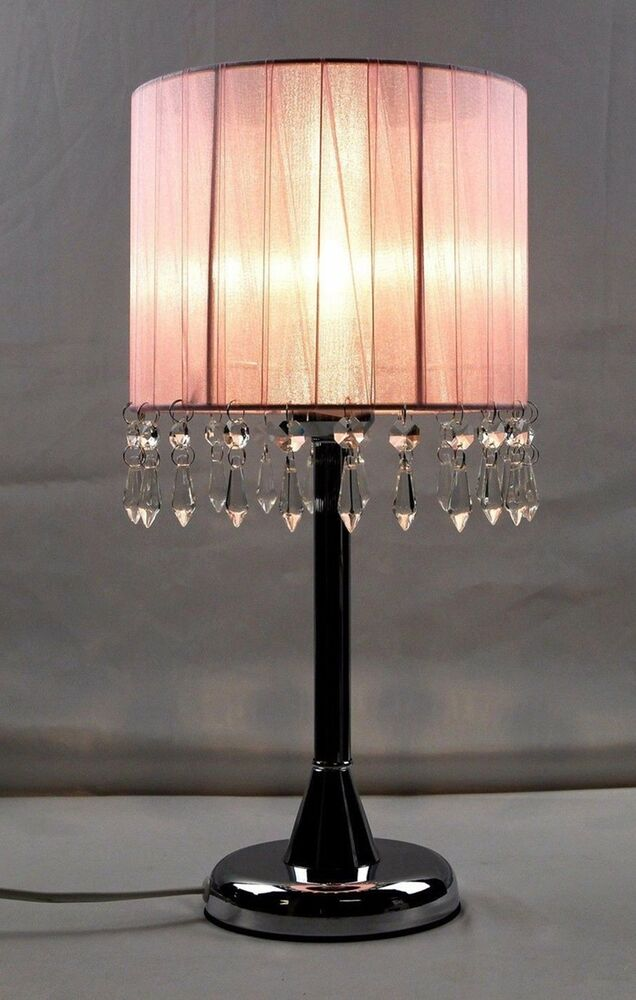 Pink Bedside Table: Touch Lamp Bedside Table Cafe Lamp With Crystal Pendants