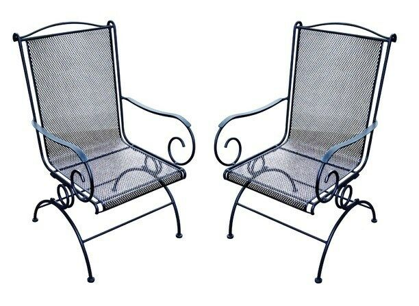 Woodard Wrought Iron Coil Spring Rocker Set Of 2 Black