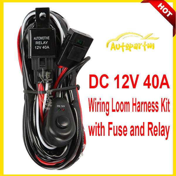 12v Universal Wiring Harness Kit Fog Light Driving Lamp   Fuse   Switch   Relay