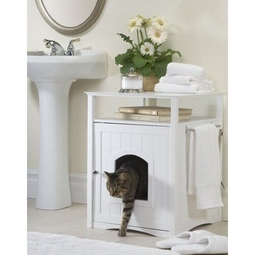 Litter Box Furniture Hidden Cat Dog Bed Bathroom Stand Side Table White Wooden Ebay