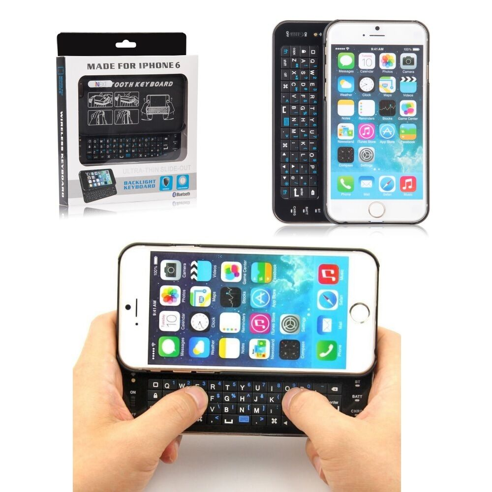 ultra thin slide out bluetooth wireless keyboard case cover for iphone 6 6s 4 7 ebay. Black Bedroom Furniture Sets. Home Design Ideas